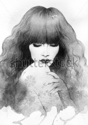 Posters Beautiful woman. watercolor illustration