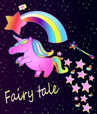 Posters Bébé licorne rose affiche-mignon avec arc-en-ciel sur un beau fond dégradé avec étoiles et coeurs