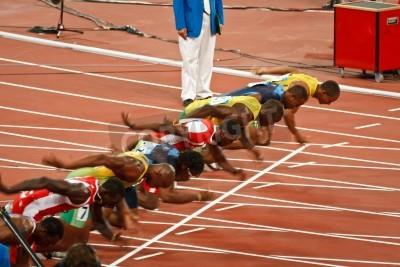 Posters Beijing, China ,Olympics - Aug 18 2008: 100 meter Sprint starting line, Start of Men