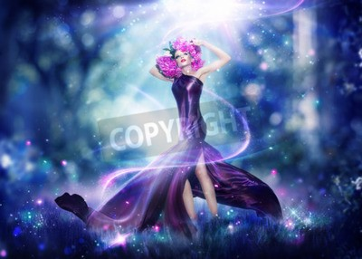 Posters Belle femme de fée d'imaginaire, Portrait d'art de mode