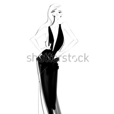 Posters Belle femme en robe noire isolée dessin. Croquis de mode jeune fille glamour.