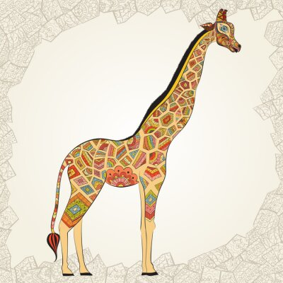 Posters Belle girafe adulte dans boho. Illustration dessinée à la main de girafe ornementale. Girafe colorée sur fond ornemental.
