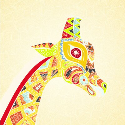 Posters Belle girafe adulte. Illustration dessinée à la main de girafe ornementale. Girafe colorée sur fond ornemental.