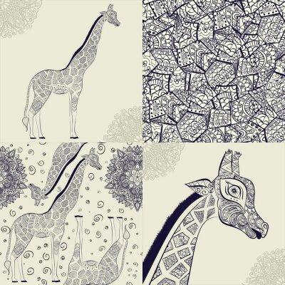 Posters Belle girafe adulte. Illustration dessinée à la main de girafe ornementale. Isolé girafe sur fond blanc. Seamless, modèle, ornemental, girafe