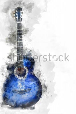 Posters Belle guitare abstraite au premier plan, fond de peinture aquarelle et illustration numérique brosse à l'art.