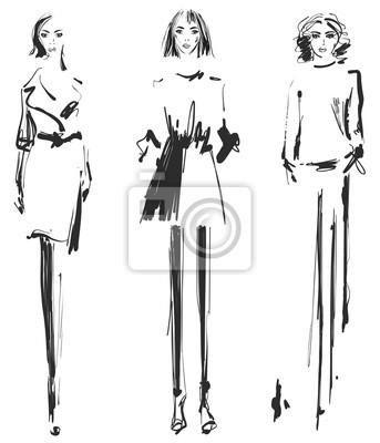 Posters Belle Jeune Fille Pour Le Design Mannequin Style Dessin De