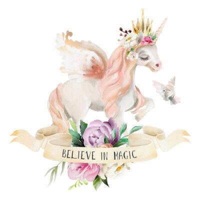 Posters Belle, mignon, aquarelle rêvant Licorne, Pégase avec des fleurs, couronne d'or, bouquet floral, pigeon et ruban avec qoute isolé sur blanc