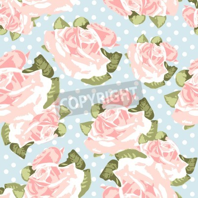 Posters Belle rose Seamless motif bleu de point de polka, illustration vectorielle