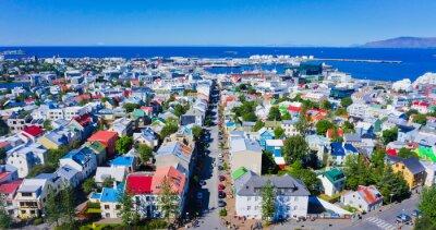 Posters Belle vue aérienne ultra grand-angle de Reykjavik, Islande