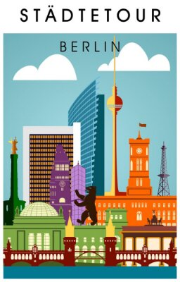Posters Berlin Affiche bunt mit wichtigen Sehenwürdigkeiten hochkant Silhouette Panorama