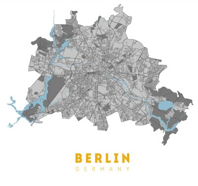 Posters Berlin map. Detailed poster city map Berlin. Germany