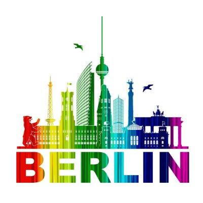 Posters Berlin Silhouette Umriss Wandtatoo Schattenriss Élément Regenbogen Fernsehturm Bär Rathhaus Reichstag Brandenburger Tor Funkturm