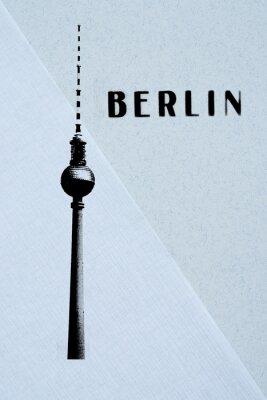 Posters Berlin, vendange, carte postale - tv, tour, lettres, résumé, backg