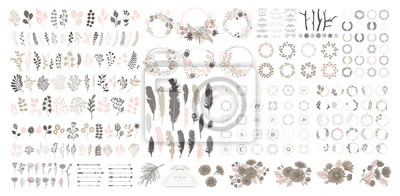 Posters Big set with wreath, design elements, frames, calligraphic. Vector floral illustration with branches, berries, feathers and leaves. Nature frame on white background.