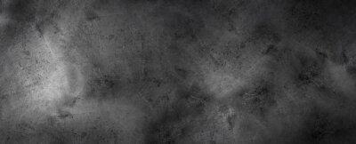 Posters Black Dark rough concrete wall wide texture - dark grunge background