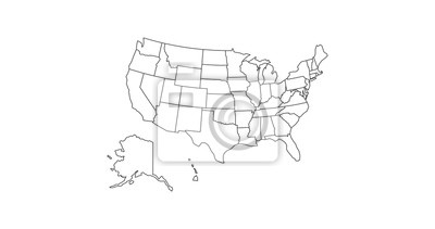 Posters black thin line usa map contour. education infographic element. stroke flat style design. Vector illustration isolated on white background