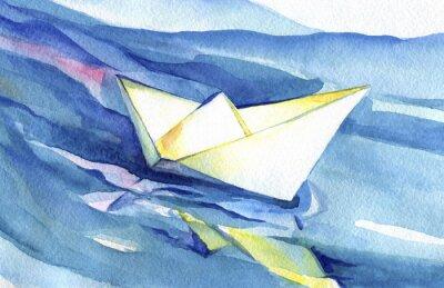Posters Blanc, papier, bateau, voiles, vagues Peinture à l'aquarelle du navire et de l'eau de mer.