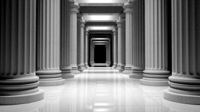 Posters Blanc piliers de marbre dans une rangée à l'intérieur d'un bâtiment