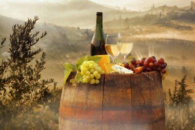 Posters Blanc, vin, baril, vignoble, Chianti, Toscane, Italie
