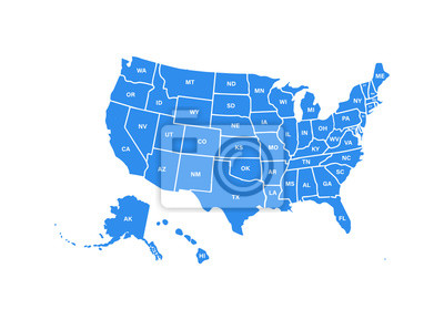 Posters Blank similar USA map isolated on white background. United States of America usa country. Vector template usa for website, design, cover, infographics. Graph illustration.