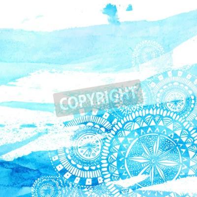 Posters Bleu, aquarelle, pinceau, coups, blanc, main, dessiné, mandalas, rond, doodle. Conception d'été de vecteur.
