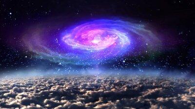 Posters Bleu, galaxie, nuit, espace.