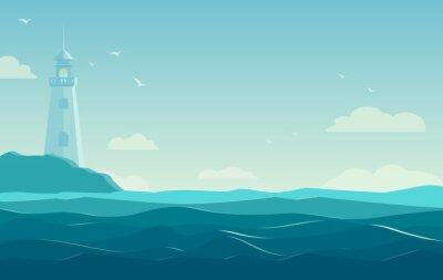 Posters Bleu, mer, fond, vagues, phare Illustration vectorielle