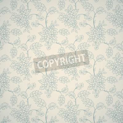 Posters Bleu ornement floral sur fond clair