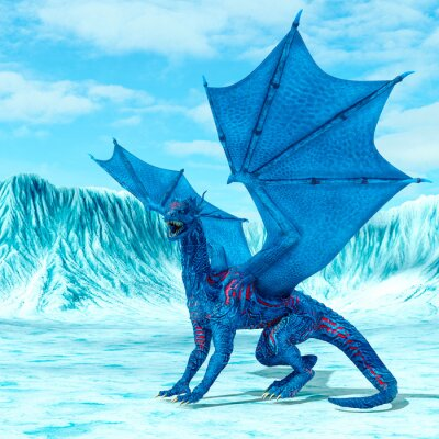 Posters blue ice dragon is looking for food on frozen land