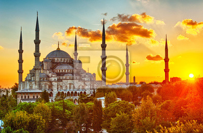 Posters Blue Mosque at sunset