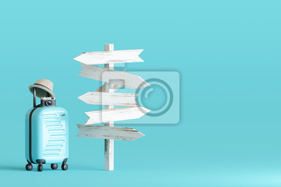 Posters Blue suitcase and hat, camera with signpost on pastel blue background. travel concept. 3d rendering