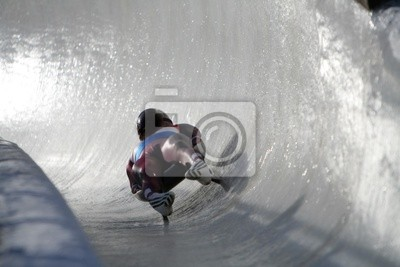 Boblseigh à Sigulda, en Lettonie, en Europe - sport d'hiver très populaire