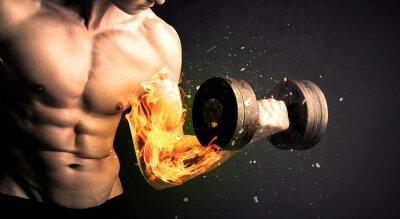 Posters Bodybuilder, athlète, levage, poids, feu, explose, bras, concept