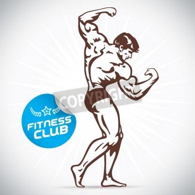 Posters Bodybuilder Fitness Model Illustration