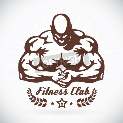 Posters Bodybuilder Fitness Model Illustration, Sign, Symbol, Button, Badge, Icon, Logo for Family, Baby, Children, Teenager, People, Tattoo