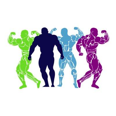 Posters Bodybuilding, levage de puissance, icône, vecteur, plat