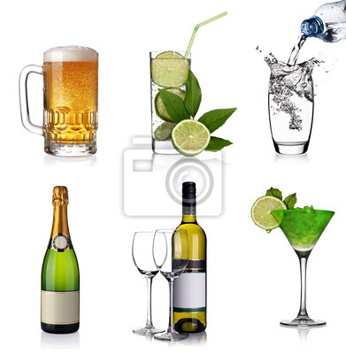 Boissons collage avec de la bière, cocktails, champagne, vin, eau