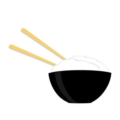 Posters Bol de riz avec deux baguettes