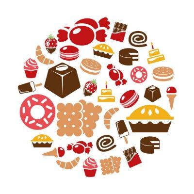 Posters bonbons icônes en cercle