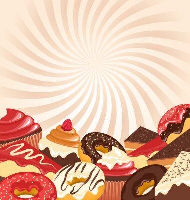 Posters Bonbons rayures radiales sur fond beige