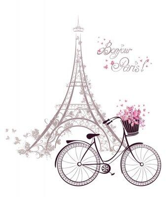 Posters Bonjour texte Paris avec la tour Eiffel et vélo
