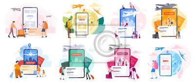 Posters Book flight online concept. Idea of travel and tourism. Planning
