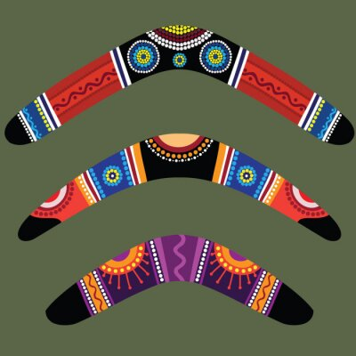 Posters Boomerangs avec la conception autochtone