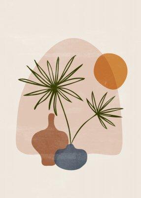 Posters Botanical vintage print boho sun minimalist wall art