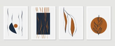 Posters Botanical wall art vector set. Earth tone boho foliage line art drawing with  abstract shape.  Abstract Plant Art design for print, cover, wallpaper, Minimal and  natural wall art.