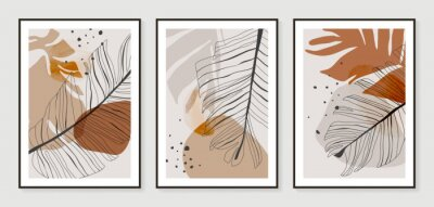 Posters Botanical wall art vector set. Golden foliage line art drawing with watercolor.  Abstract Plant Art design for wall framed prints, canvas prints, poster, home decor, cover, wallpaper.
