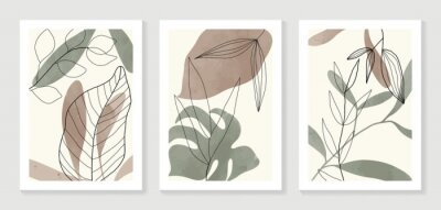 Posters Botanical wall art vector set. Water color boho foliage line art drawing with  abstract shape.  Abstract Plant Art design for print, cover, wallpaper, Minimal and  natural wall art.