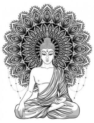 Posters Bouddha assis sur une fleur rose fleurie. Illustration vectorielle vintage ésotérique. Indien, bouddhisme, art spirituel. Tatouage hippie, spiritualité, dieu thaïlandais, yoga zen