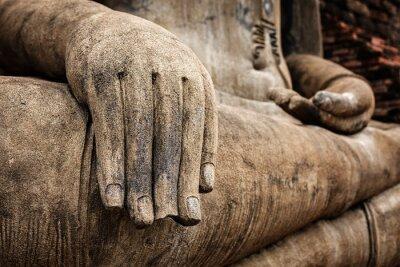 Posters Bouddha, statue, main, fin, haut, détail