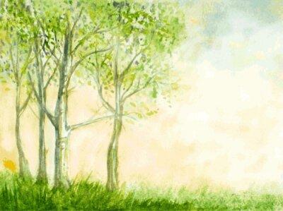 Posters bouleaux aquarelle illustration vectorielle. nature abstraite de retour